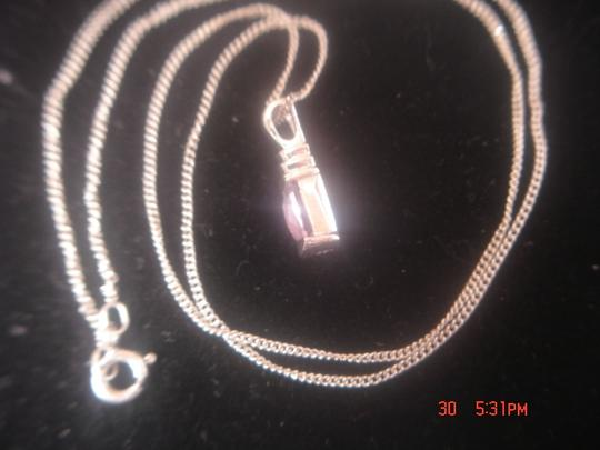 Unknown STERLING SILVER LOT AMETHYST RECTANGLE SHAPED GEMSTONE PENDANT & 18