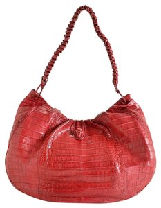 Nancy Gonzalez Pink Crocodile Hobo Bag