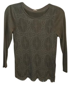 J.Crew Lace Crochet Long Sleeve T Shirt Green