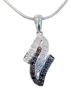 Black & White Pave Lightening Z Pendant, 10 KT WG