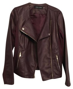 Black Rivet Mauve wine Leather Jacket