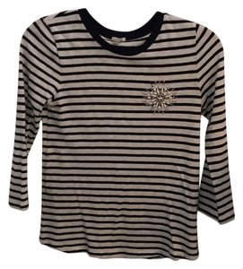 J.Crew Shirts Striped Embellished Three Quarter Sleeve Sweater