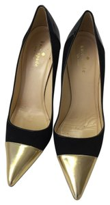 Kate Spade Italian Black patent leather heels, suede body, gold tips Pumps