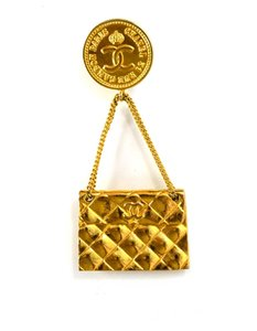 Chanel Chanel Goldtone Quilted Flapbag Brooch
