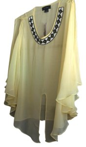Karen Kane Top Yellow beaded