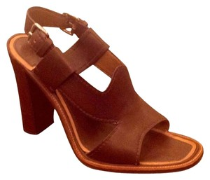 Prada Luxury Stacked Wooden Heel Brown Sandals