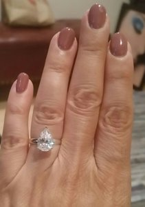 White Gold 14k 3 Ct Solitaire Pear Size 7 Engagement Ring