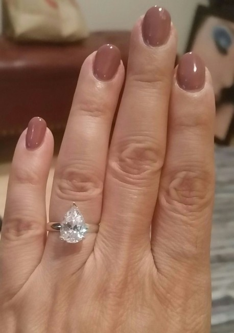 White Gold 14k 3 Ct Solitaire Pear Size 7 Engagement Ring White Gold 14k 3 Ct Solitaire Pear Size 7 Engagement Ring Image 1