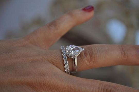 White Gold 14k 3 Ct Solitaire Pear Size 7 Engagement Ring Image 10