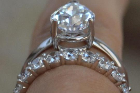 White Gold 14k 3 Ct Solitaire Pear Size 7 Engagement Ring Image 11