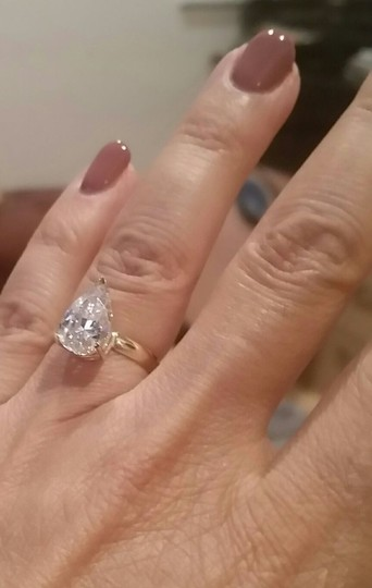 White Gold 14k 3 Ct Solitaire Pear Size 7 Engagement Ring Image 4
