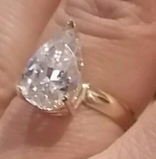 White Gold 14k 3 Ct Solitaire Pear Size 7 Engagement Ring Image 6