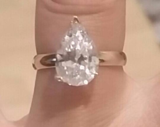White Gold 14k 3 Ct Solitaire Pear Size 7 Engagement Ring Image 7