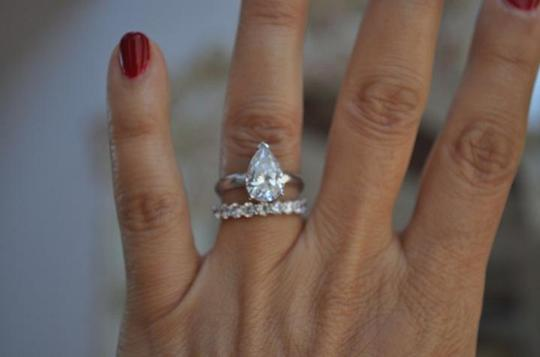 White Gold 14k 3 Ct Solitaire Pear Size 7 Engagement Ring Image 9