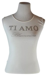 Blumarine Embellished Sleeveless Crew Neck T Shirt White