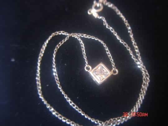"""Unknown STERLING SILVER LOT CLEAR LARGE SINGLE ZIRCONIA SQUARE PENDANT & 18"""" LINK CHAIN"""