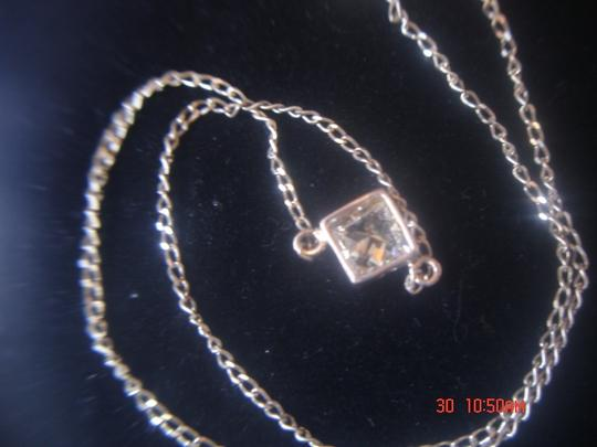 Unknown STERLING SILVER LOT CLEAR LARGE SINGLE ZIRCONIA SQUARE PENDANT & 18