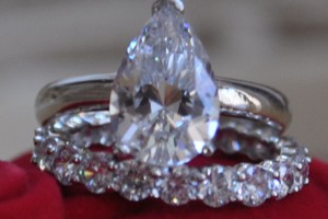 Pear 4.5 Ct Man Made Diamond Wedding Engagement Ring 14k White Gold 2 Pc Size 5 6 7 8 9