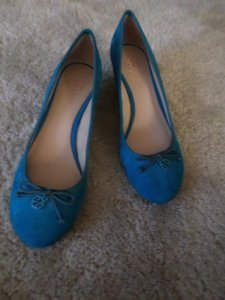Tory Burch Nwt Suede Blue Green Wedges