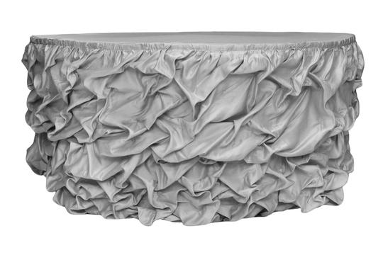 Plum Silver 3 14ft Table Skirts Event Party Bridal Shower Baby Tablecloth Image 1