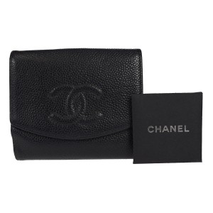Chanel CC Logos Bifold Wallet Purse Caviar Skin Leather BK Card Case Mens