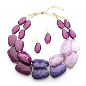Mariell Purple Tones Chunky Statement Earrings For Prom Or Bridesmaids 4111s-pu Necklace