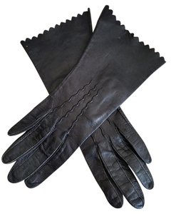 Max Mayer's Vintage Black Leather Scalloped Gloves