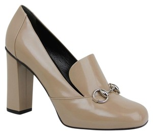 Gucci Leather Heel Horsebit Beige Pumps