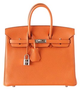 Hermès Birkin 25 H Togo Palladium Hardware Tote in H Orange