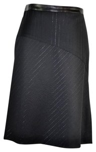 Byblos Shimmer Wool A Line Skirt Black