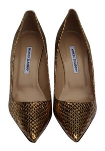 Manolo Blahnik Snakeskin Metallic Gold Snake Pumps