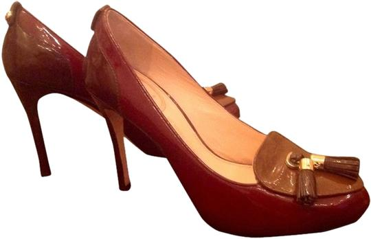 Vince Camuto Tassel Stiletto Burgundy and Brown Pumps