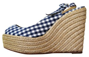 Christian Louboutin & Checkered Espadrille Blue & White Wedges