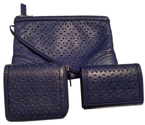 Levenger Set of 3 Perforated Leather Accessories - Wallet/Wristlet/Card Case