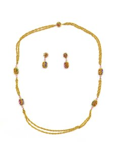 Miriam Haskell Miriam Haskell Multi-Color Crystal Necklace & Earring Set