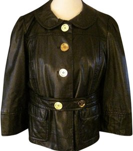 Juicy Couture Sort Of Vintage Gold Buttons Leather Jacket