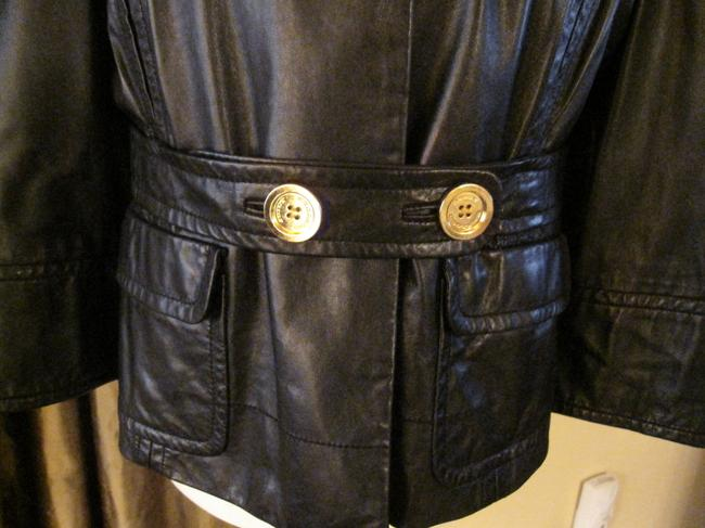 Juicy Couture Sort Of Vintage Gold Buttons Self Belt Leather Jacket