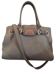 Michael Kors Leather Rose Gold Gray Tote in Grey