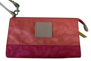 Coach Nwt Logo Wristlet in Coral / Pink Ruby / Beige Leather