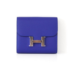 Herms HERMES Constance Wallet Electric Blue Epsom Palladium Very Rare