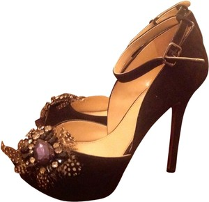 Enzo Angiolini Feather Peep Toe Gemstone Black Platforms