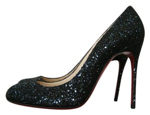 Christian Louboutin Glitter Heels Black Pumps