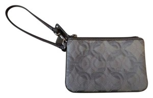Coach New Jacquard Logo Wristlet in Gray & Silver