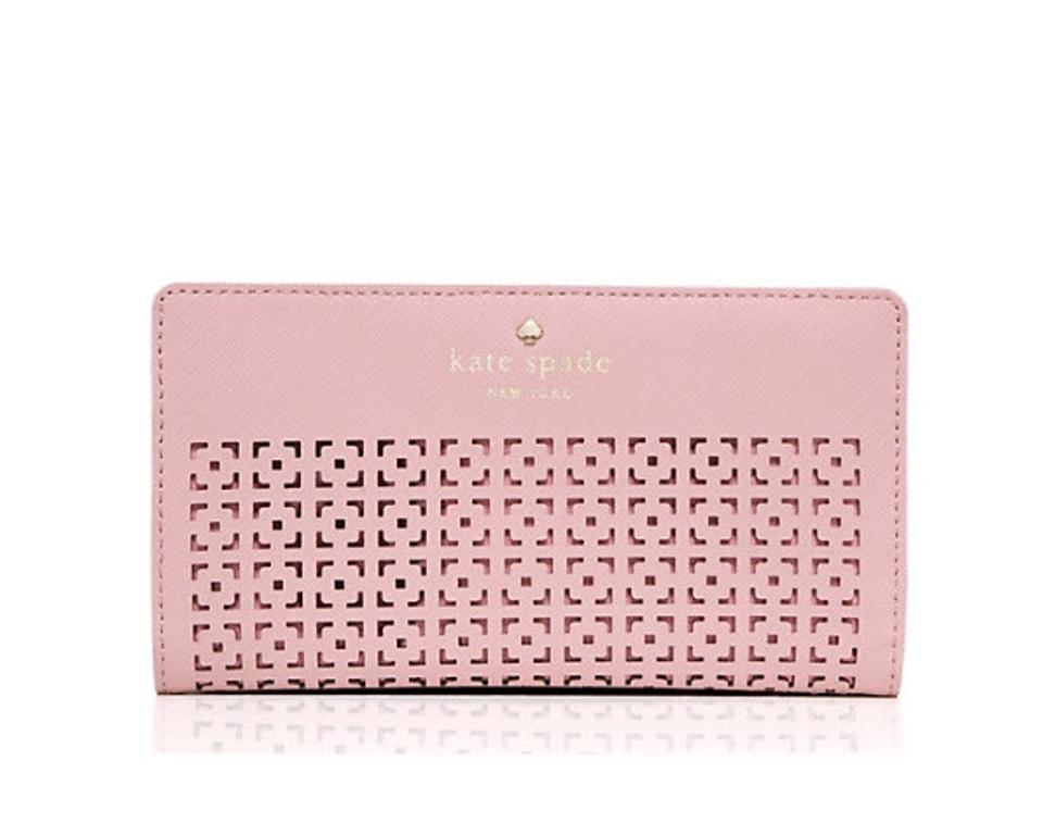 aba9b47a44d04 Kate Spade Cedar Street Perforated Stacy Wallet Pink Bonnet Leather ...