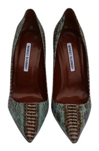 Manolo Blahnik Pump Blue/Brown Snake Pumps
