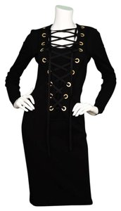 Givenchy Lace Up Long Sleeve Dress