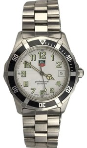 TAG Heuer Tag Heuer Large Stainless Steel Professional Watch Black Rim White Face Mens Womens