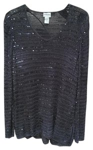 Chico's Sequined Metalic V-neck Sweater