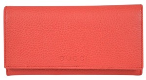 Gucci Gucci Women's 346058 Coral Red Leather Trademark Logo Wallet