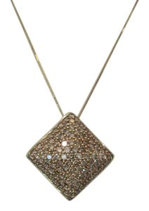 Other 4.0 CTw Champagne Pave Diamond Pyramid Pendant, 10 KT YG RG